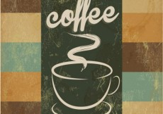 Free vector Poster retro with hand drawn cup of coffee #32440