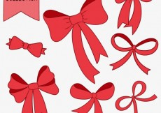 Free vector Red bows collection #34611