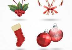 Free vector Red christmas decoration #31796