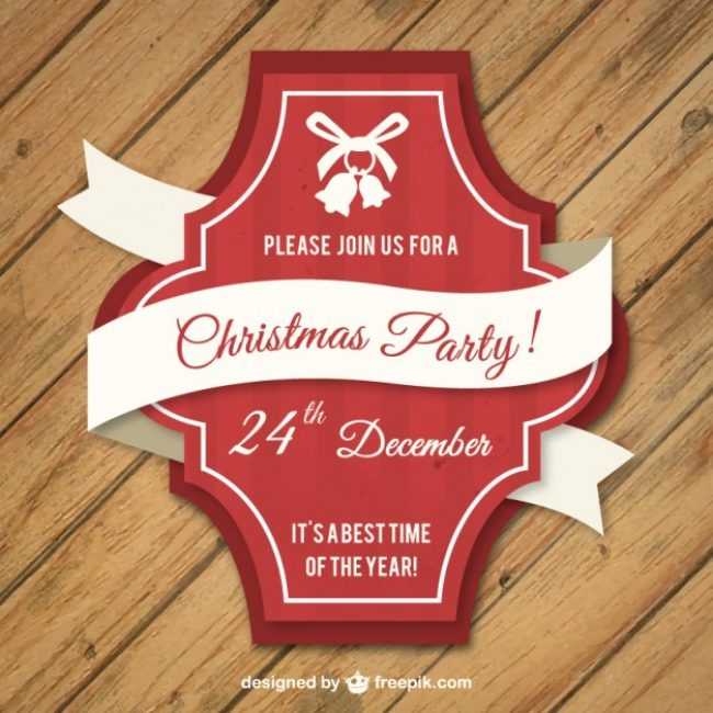 Free vector Red christmas label in retro style #32948