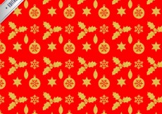 Free vector Red christmas pattern with golden elements #33130