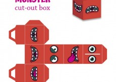 Free vector Red monster cut-out box #32724