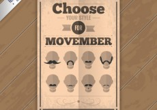 Free vector Retro movember poster #30557