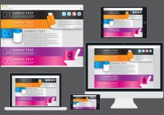 Free vector Ribbons Web Template In Devices #31617