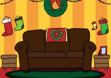 Free vector Room with christmas decoration #29113