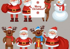 Free vector Santa claus and the reindeers #30110