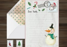 Free vector Santa Claus letter with a han painted snowman #31829