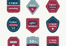 Free vector shaped cyber monday tags #29914