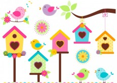 Free vector Singing birds in colorful style #29345