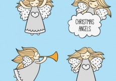 Free vector Sketchy christmas angels #33573