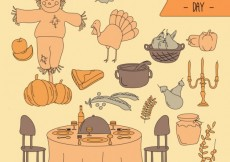 Free vector Sketchy thanksgiving day elements #28801