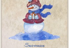 Free vector Smiling snowman with present #31501
