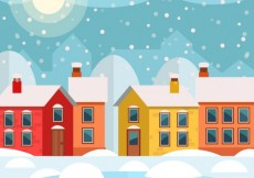 Free vector snowing town #28527