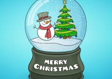 Free vector Snowman and christmas tree inside a crystal ball #31798