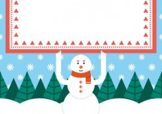 Free vector Snowman with and banner #30733