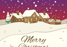 Free vector Snowy christmas village background #29137