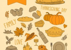 Free vector Thanksgiving day menu elements #28803