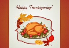 Free vector Thanksgiving roasted turkey card #29043