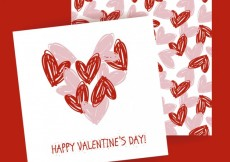 Free vector Valentine card with hearts pattern #34271