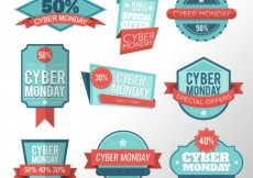 Free vector Variety of cyber monday labels #29544