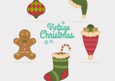 Free vector Variety of vintage christmas elements #30695