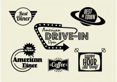 Free vector 50s Diner, Coffee, and Fast Food Pack #34248