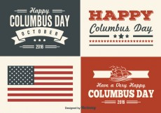 Free vector Columbus Day Retro Style Label Set #29104