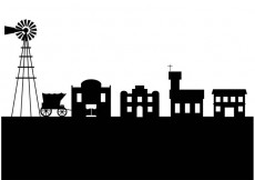 Free vector Old west town silhouette #33089