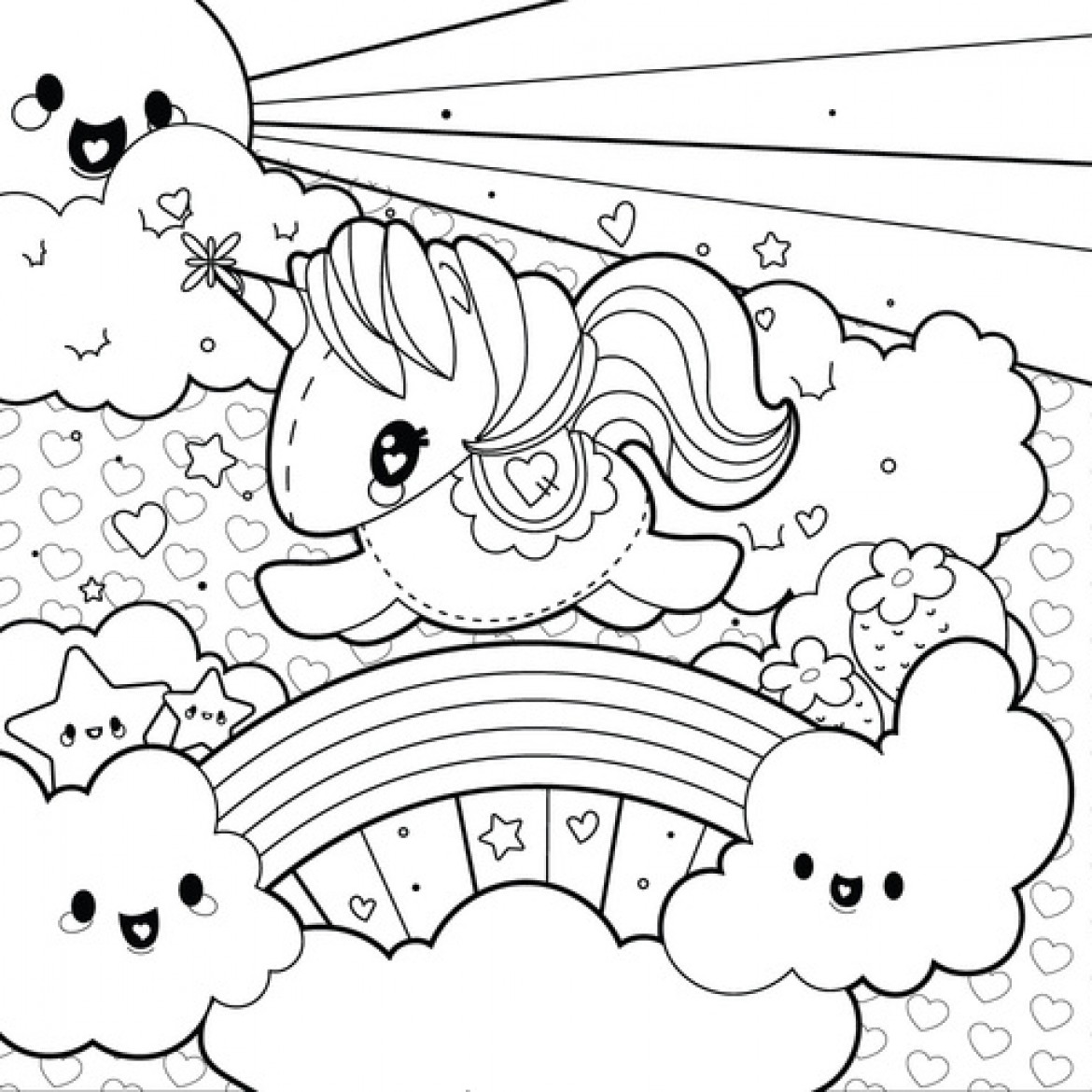 Unicorns And Rainbows Coloring Pages - Coloring Pages 2019