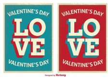 Free vector Retro Style Cute Valentine's Day Cards #30486