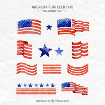 Free vector Watercolor american flags #33523