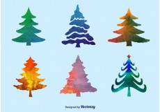 Free vector Watercolor Pine Tree Vectors #32027