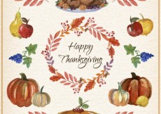 Free vector Watercolor Thanksgiving Elements Card #28741