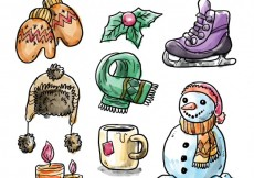 Free vector Watercolor winter essentials #28180