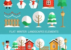 Free vector Winter characters and landscape #28641