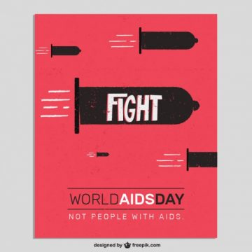 Free vector World aids day card with condoms like bullets #29231