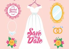 Free vector Flat wedding pack of female accessories #2