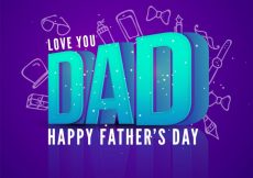 Free vector  3D text Dad, You are the Best Dad in the World, Happy Fathers Day illustration on doodle elements background #1174