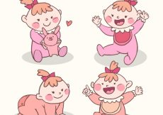Free vector Assortment of cute baby in hand-drawn style #2747