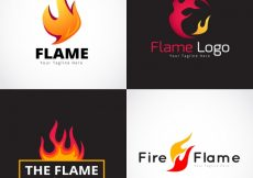 Free vector Assortment of four flame logos in flat design #1304