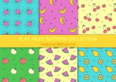 Free vector Assortment of six fruit patterns in flat design #1048