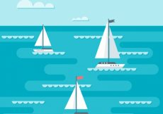 Free vector Background of boats sailing in flat design #1094