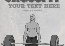Free vector Background of crossfit and man lifting weights hand drawn #290