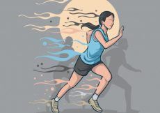 Free vector Background of hand drawn woman running #2267