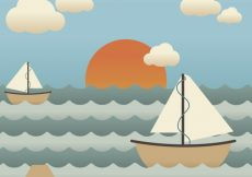 Free vector Background of pretty boats in the sea #1104