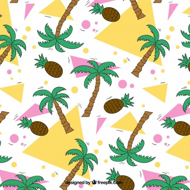 Free vector Background with geometric shapes, palm trees and pine cones #1470