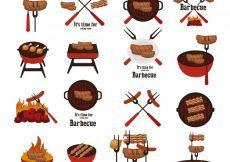 Free vector Barbecue elements collection #2668