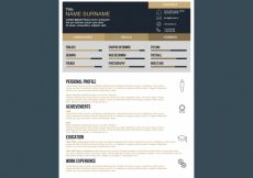 Free vector Black and gold resume template #2630