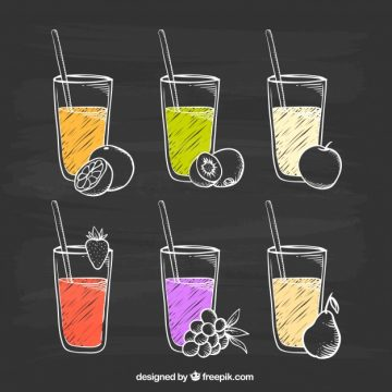 Free vector Blackboard with variety of fruit juices #3501
