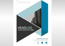 Free vector Blue geometric annual report book cover template #2141